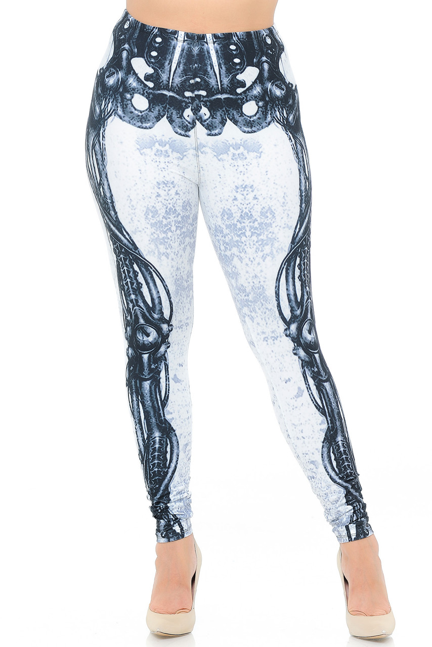 Front view image of our neutral colored Creamy Soft White Bio Mechanical Skeleton Plus Size Leggings (Steam Punk) - USA Fashion™ that pair with a top of any color for any season.