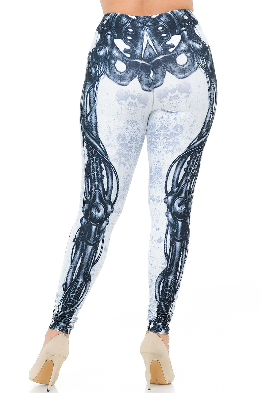Back view image of our Creamy Soft White Bio Mechanical Skeleton Plus Size Leggings (Steam Punk) - USA Fashion™ with a full length skinny leg cut.