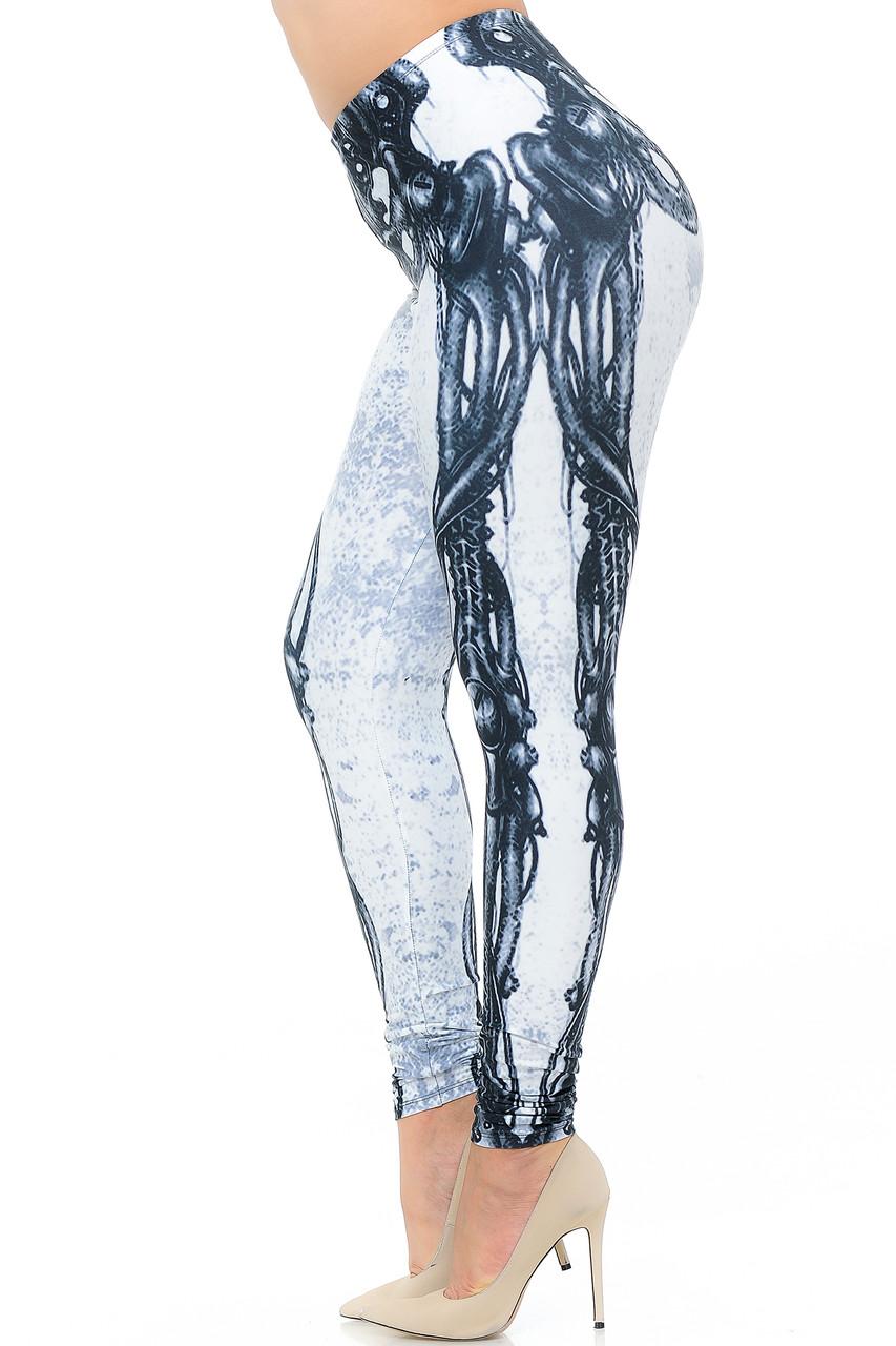 Left side view image of Creamy Soft White Bio Mechanical Skeleton Extra Plus Size Leggings (Steam Punk) - 3X-5X - USA Fashion™