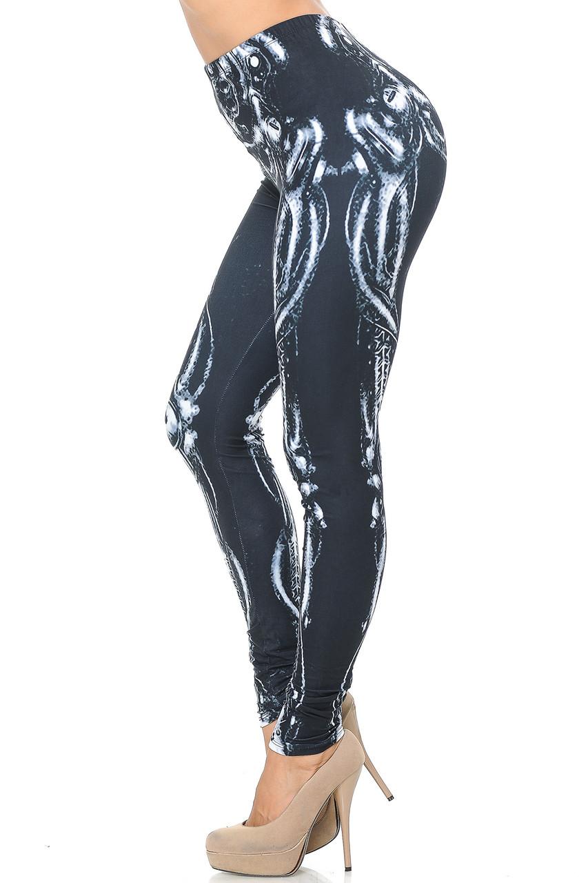 Left side view image of Creamy Soft Black Bio Mechanical Skeleton Leggings (Steam Punk) - USA Fashion™