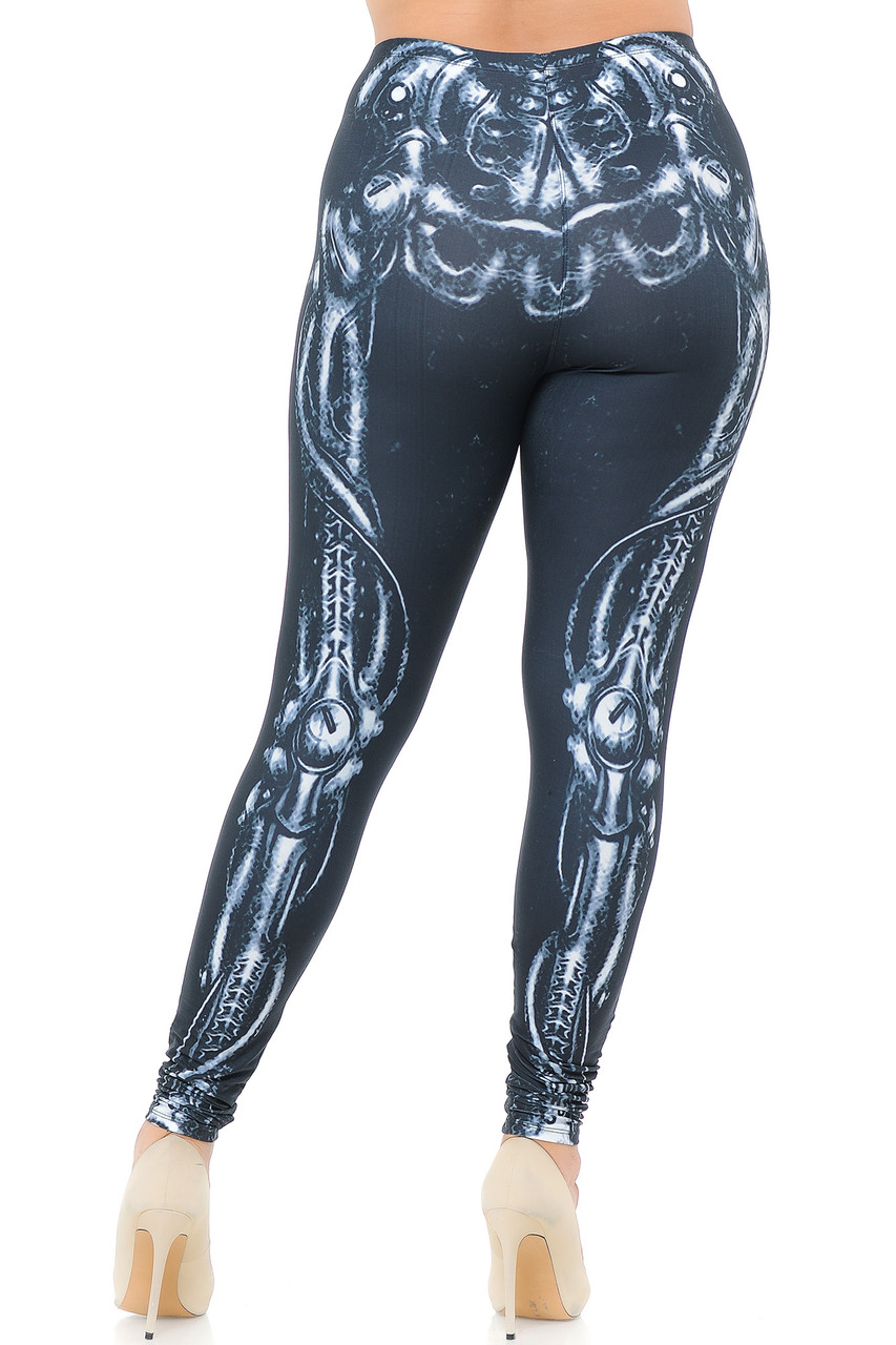 Back view image of our Creamy Soft Black Bio Mechanical Skeleton Plus Size Leggings (Steam Punk) - USA Fashion™ with a full length skinny leg cut.