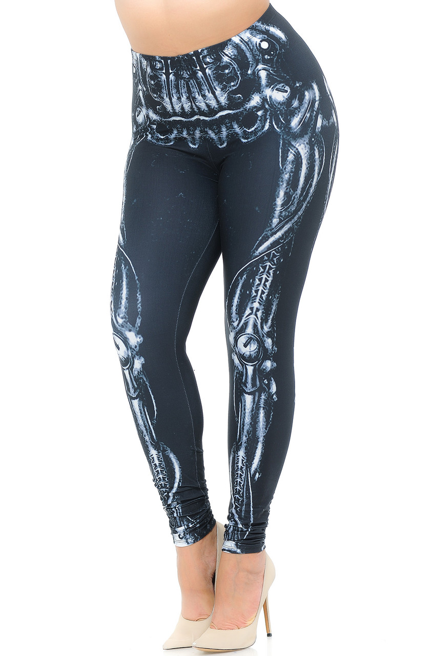 Angled front view image of our Creamy Soft Black Bio Mechanical Skeleton Extra Plus Size Leggings (Steam Punk) - 3X-5X - USA Fashion™ featuring a cool black and white steampunk style skeleton leg design, ideal for Halloween or edgy fashion any time of year.