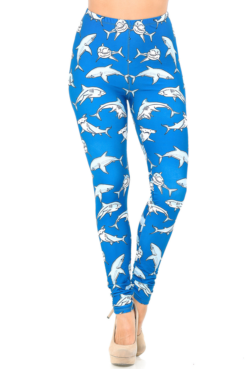 Front view image of Creamy Soft Shark Plus Size Leggings - USA Fashion™ with a cool under water themed design.