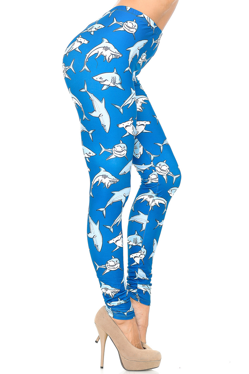 Right side view image of Creamy Soft Shark Leggings - USA Fashion™