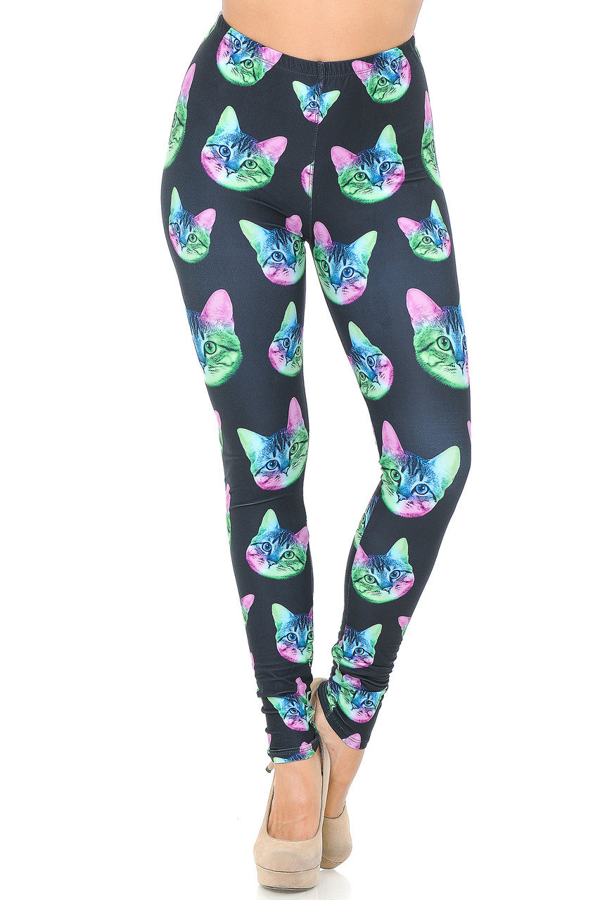 Front view image of Creamy Soft Neon Cats Leggings - USA Fashion™