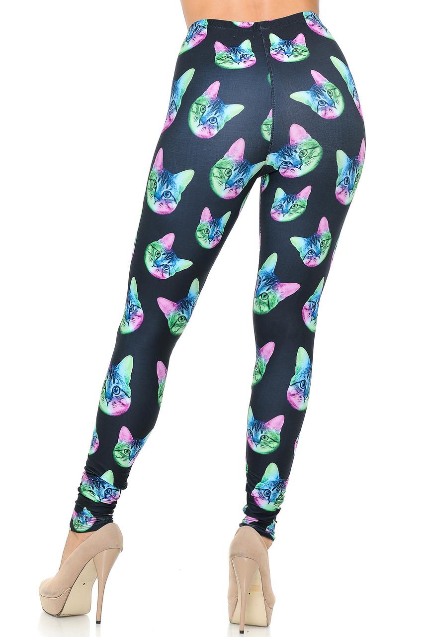 Rear view image of Creamy Soft Neon Cats Leggings - USA Fashion™