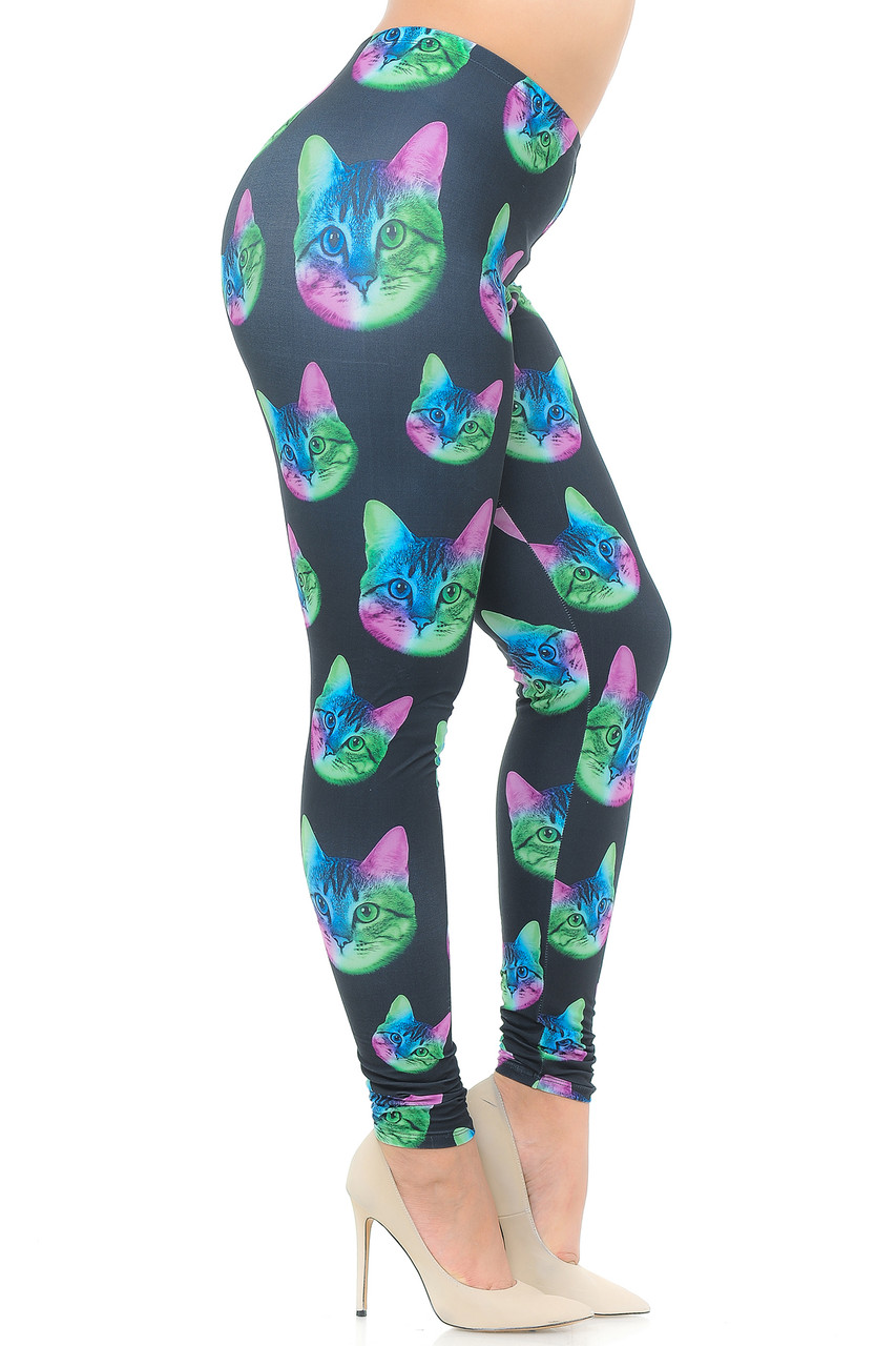 Right side view image Creamy Soft Neon Cats Plus Size Leggings  - USA Fashion™