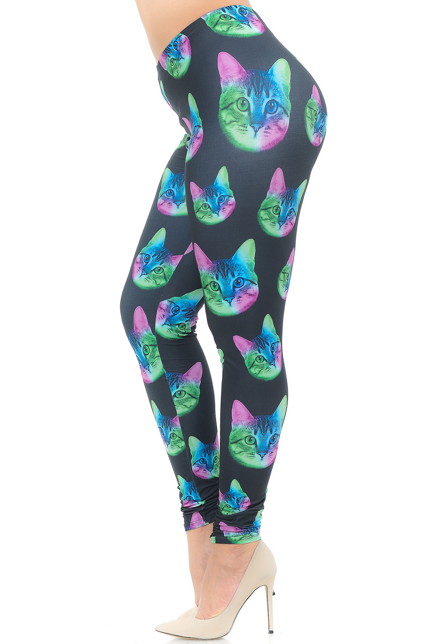 Left side view image Creamy Soft Neon Cats Plus Size Leggings  - USA Fashion™