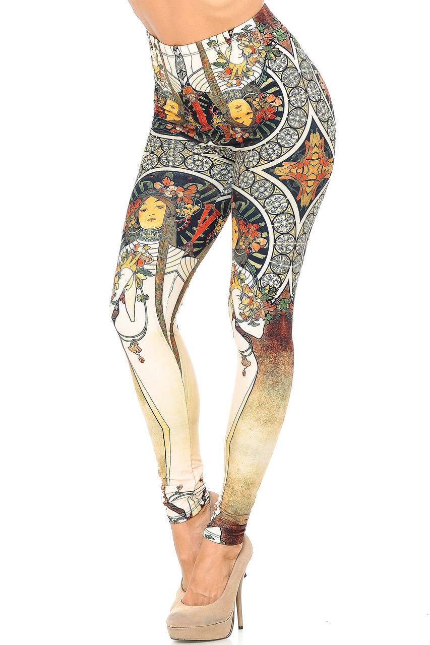 Angled front view image of our sophisticated looking Creamy Soft Gaia Mucha Leggings - USA Fashion™  adorned with a stunning french nouveau-inspired design that covers the entirety of this leg fashion piece