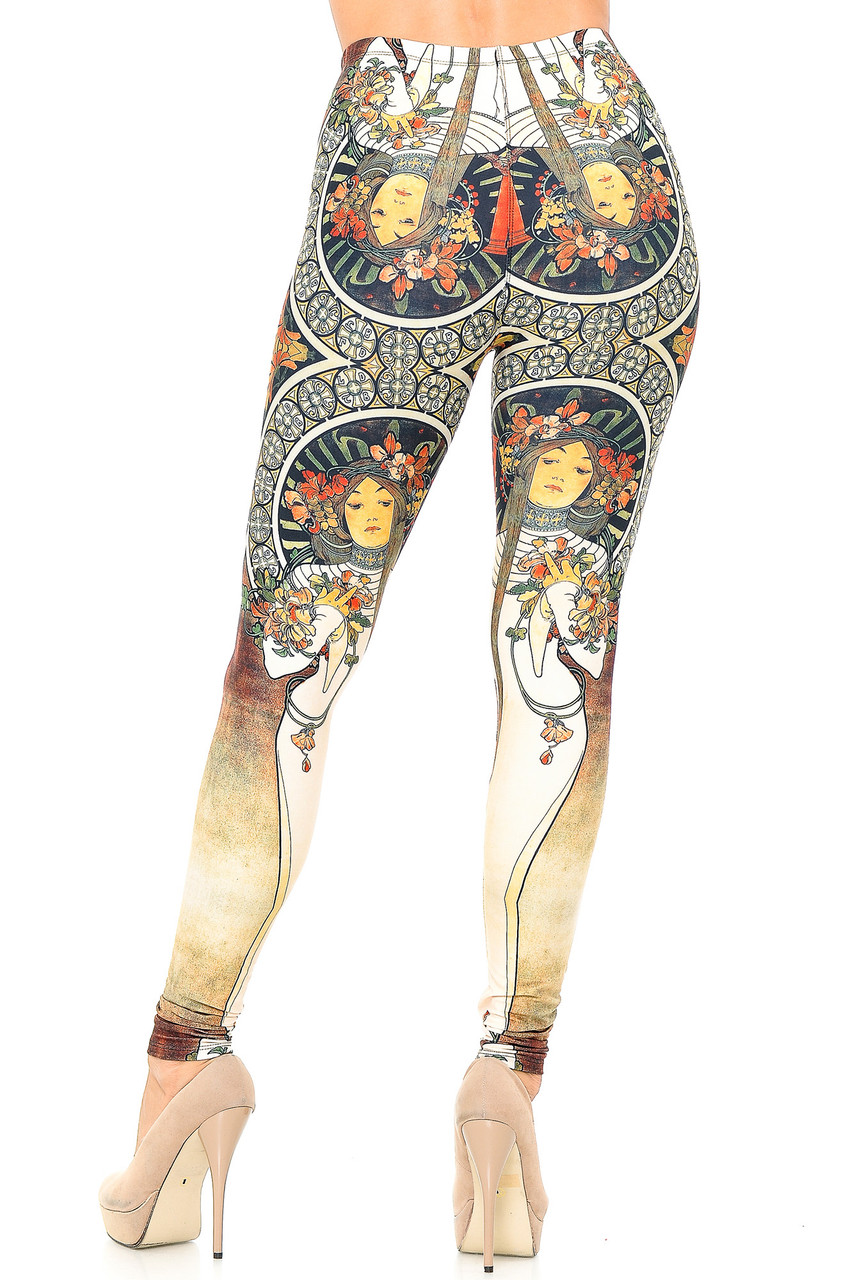 Rear view image of our Creamy Soft Gaia Mucha Leggings - USA Fashion™ that feature an elegant artsy aesthetic that can be dressed up with heels and a nice top, or down with a casual tee.