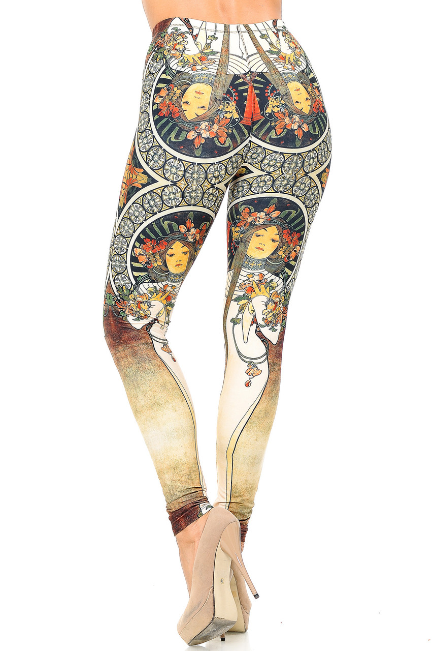 Back view of our Creamy Soft Gaia Mucha Leggings - USA Fashion™that form to your figure in the most flattering way.