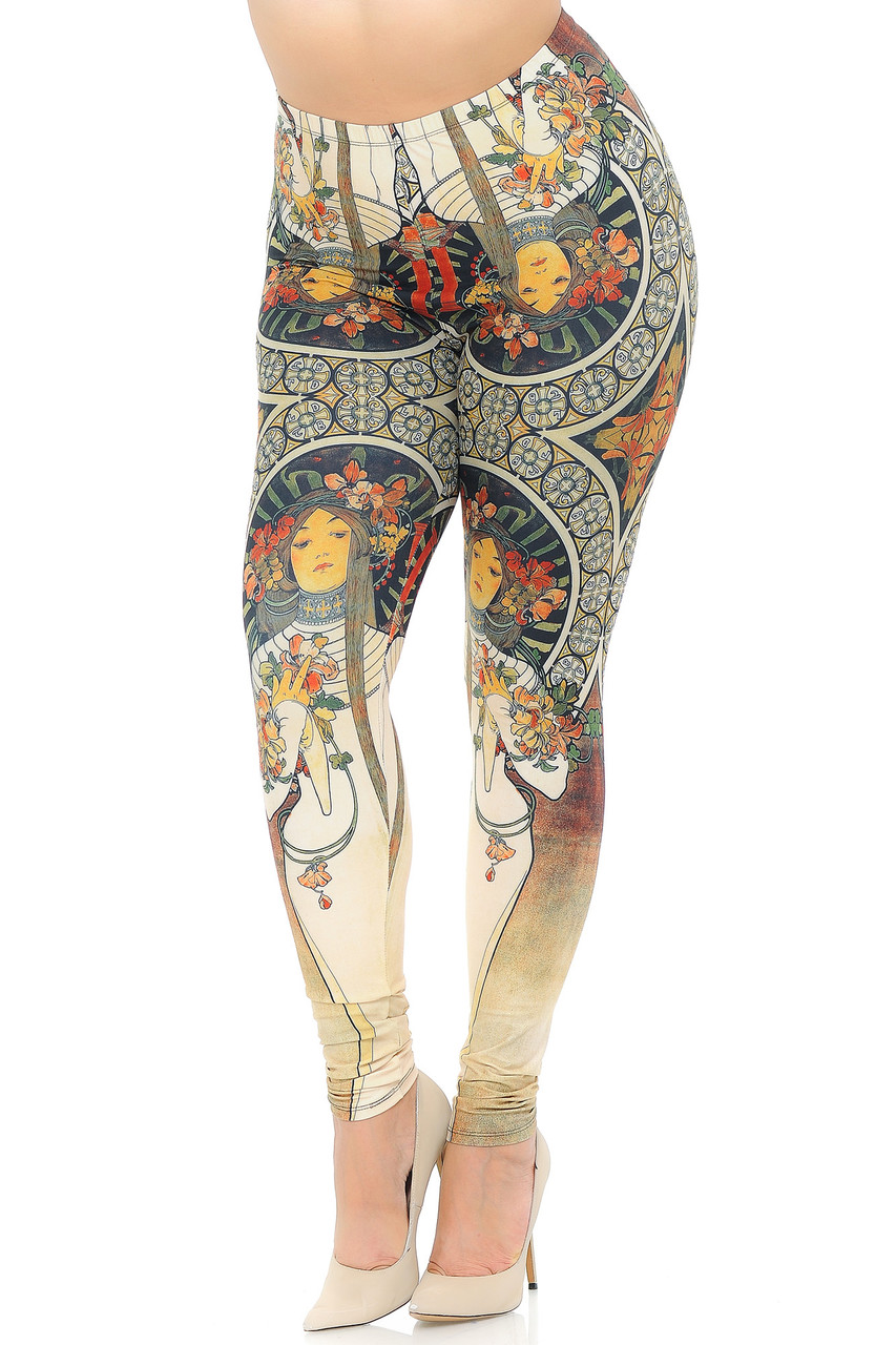 Angled front view image of our sophisticated looking Creamy Soft Gaia Mucha Extra Plus Size Leggings - 3X-5X - USA Fashion™  adorned with a stunning french nouveau-inspired design that covers the entirety of this leg fashion piece