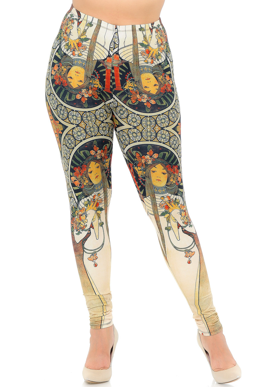 Front view image of our full length Creamy Soft Gaia Mucha Extra Plus Size Leggings - 3X-5X - USA Fashion™ with a mid rise elastic comfort stretch waistband.
