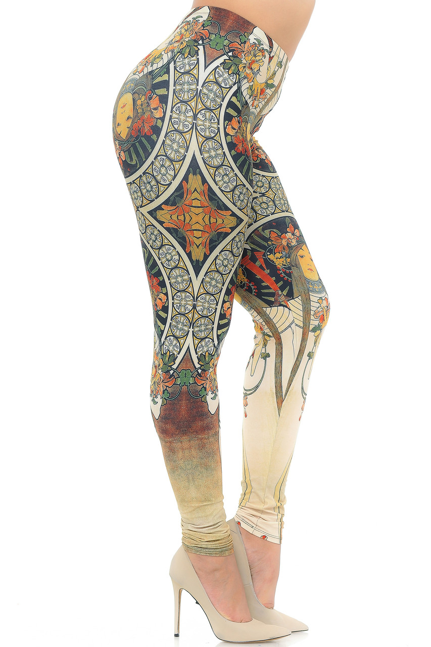 Right side view image of Creamy Soft Gaia Mucha Extra Plus Size Leggings - 3X-5X - USA Fashion™