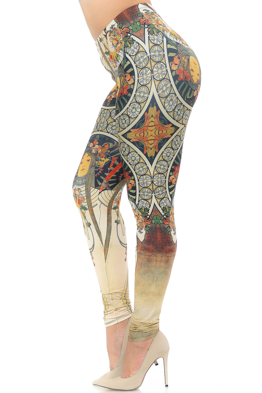 Left side view image of Creamy Soft Gaia Mucha Extra Plus Size Leggings - 3X-5X - USA Fashion™