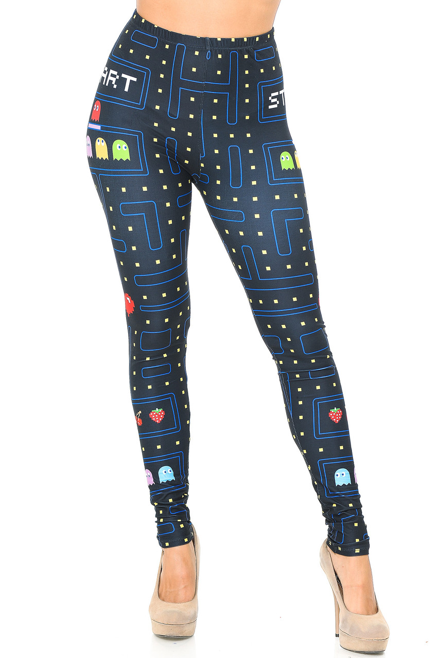 Front view mage of full length Creamy Soft Pacman Begins Leggings  - USA Fashion™ with a black background and a colorful all over Pacman inspired print.