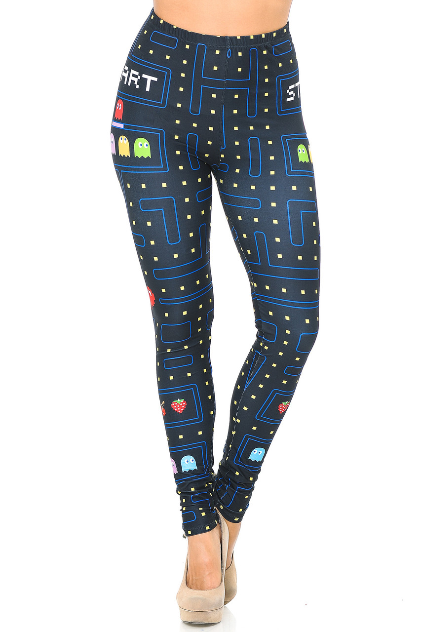 Front view image of our mid rise Creamy Soft Pacman Begins Leggings - USA Fashion™ with an elastic comfort waistband.