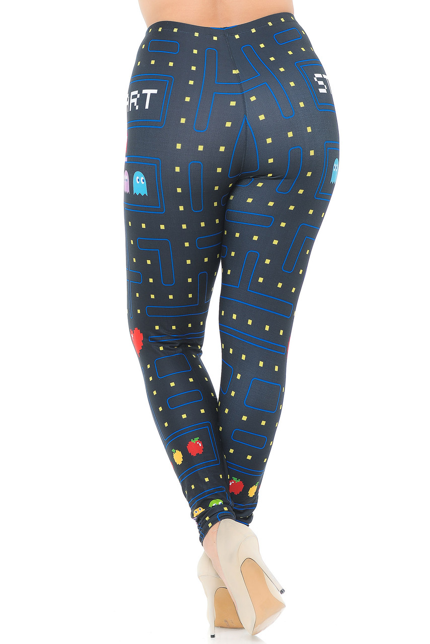 Back view image of Creamy Soft Pacman Begins Extra Plus Size Leggings - 3X-5X - USA Fashion™ with a fitted body hugging look.