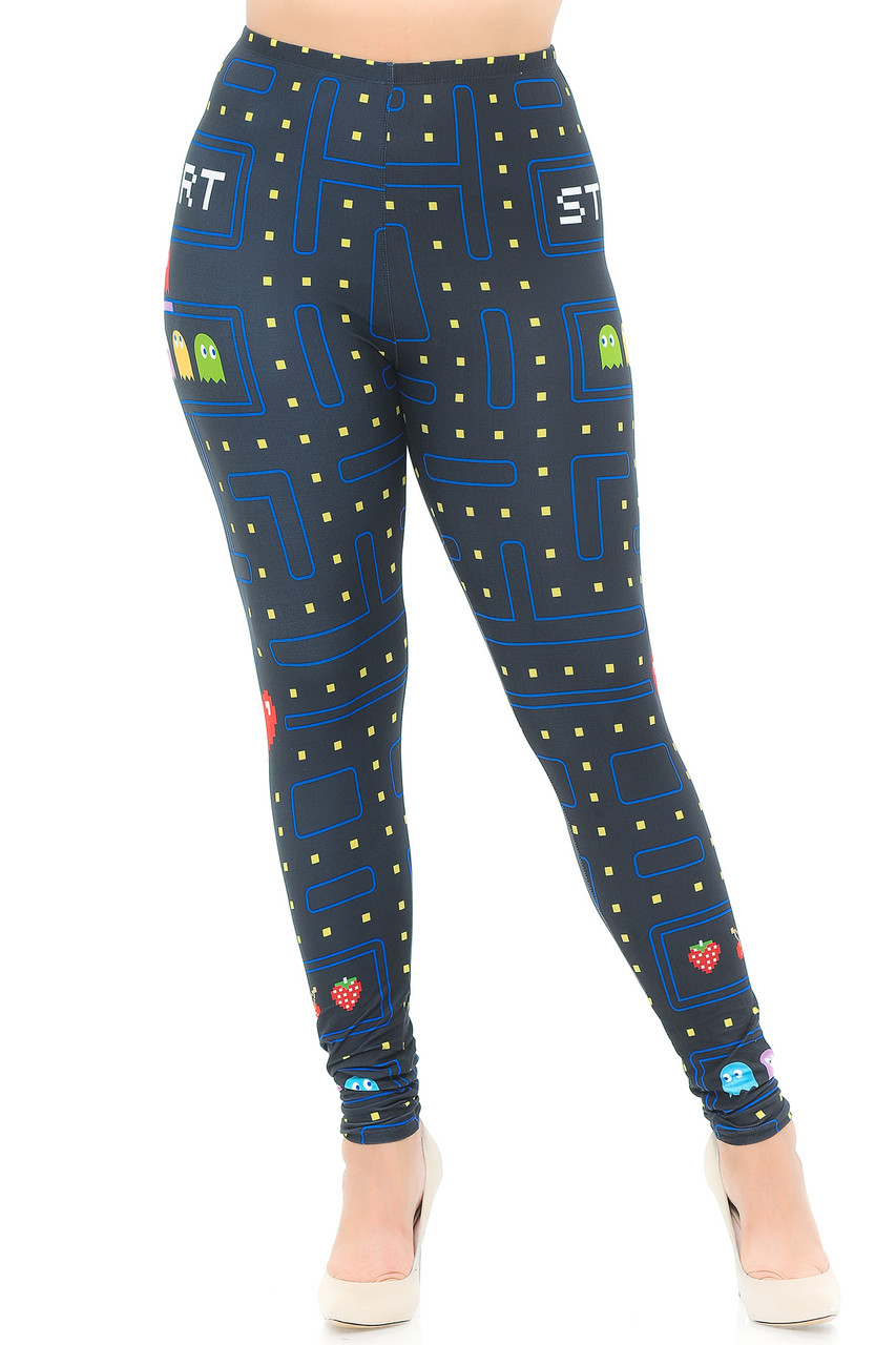 Front view mage of full length Creamy Soft Pacman Begins Extra Plus Size Leggings - 3X-5X - USA Fashion™ with a black background and a colorful all over Pacman inspired print.