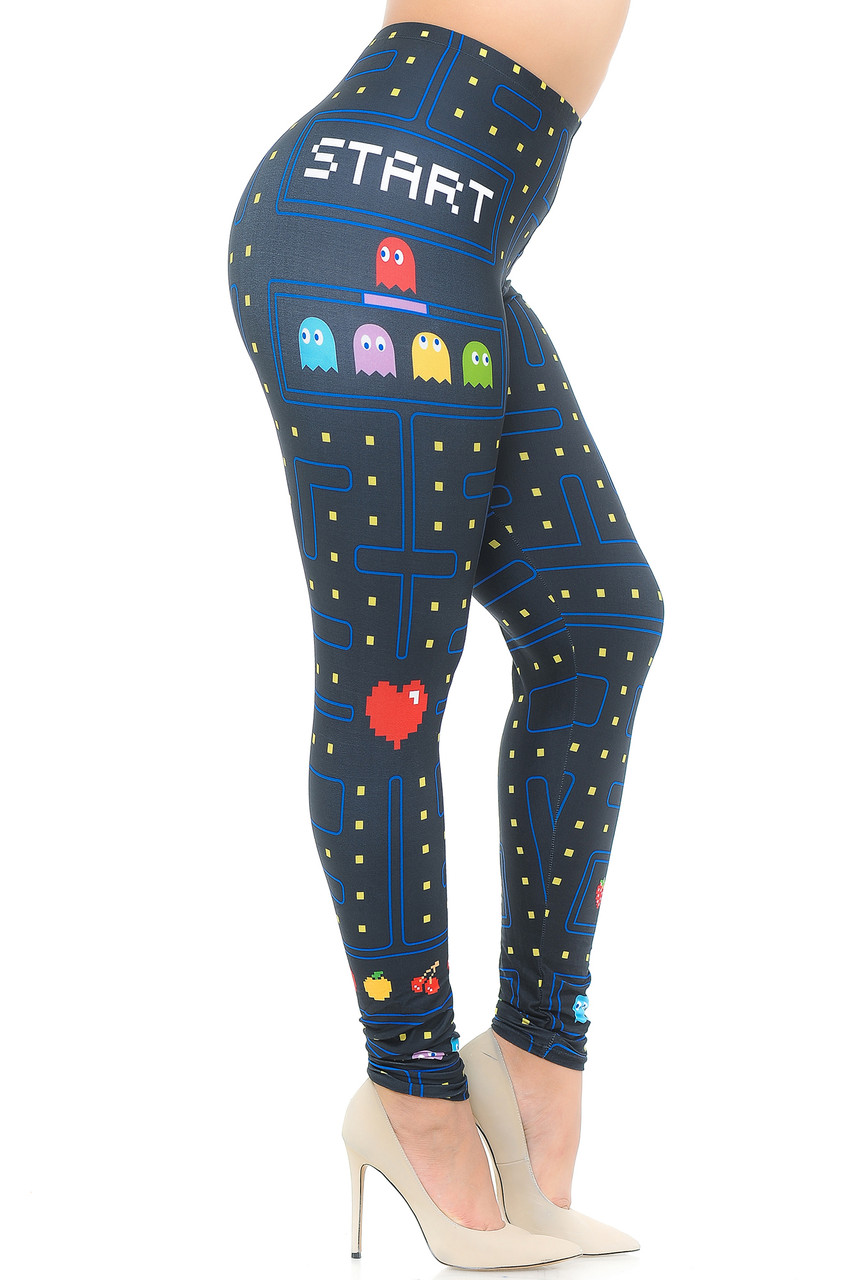 Right side view image of Creamy Soft Pacman Begins Extra Plus Size Leggings - 3X-5X - USA Fashion™