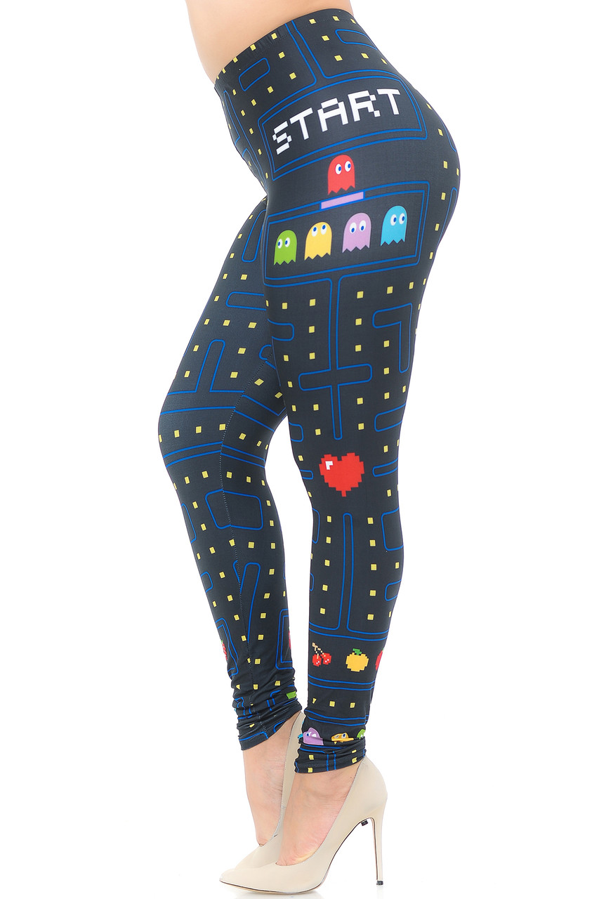 Left side view image of Creamy Soft Pacman Begins Extra Plus Size Leggings - 3X-5X - USA Fashion™