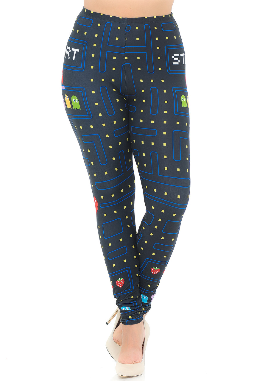 Front view image of our mid rise Creamy Soft Pacman Begins Extra Plus Size Leggings - 3X-5X - USA Fashion™ with an elastic comfort waistband.