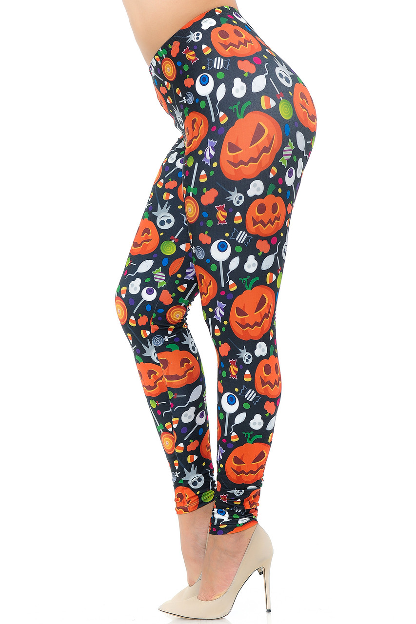 Left side view image of Creamy Soft Pumpkins and Halloween Candy Plus Size Leggings - USA Fashion™