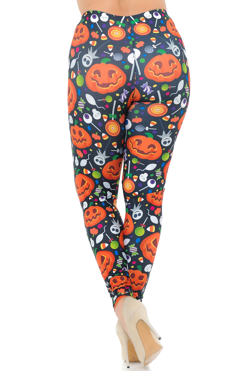 Back view image of Creamy Soft Pumpkins and Halloween Candy Plus Size Leggings  - USA Fashion™