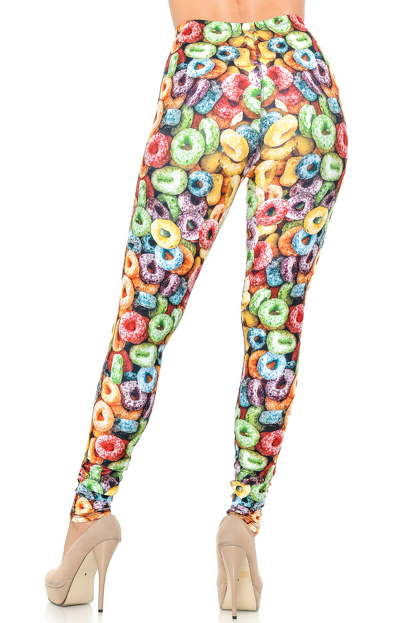 Rear view image of our figure hugging Creamy Soft Colorful Cereal Loops Leggings showing off the continued all over eye catching design.