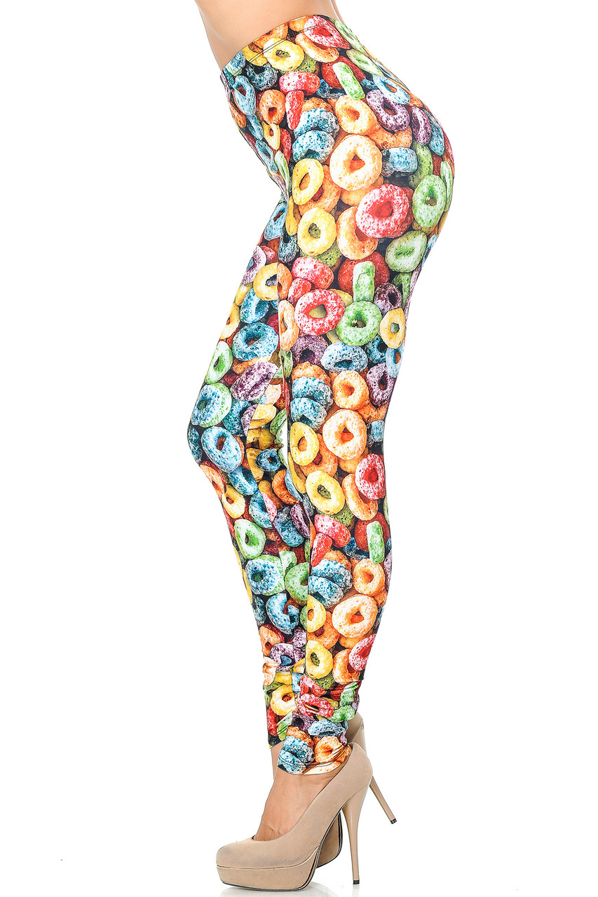 Left side view image of Creamy Soft Colorful Cereal Loops Leggings - USA Fashion™