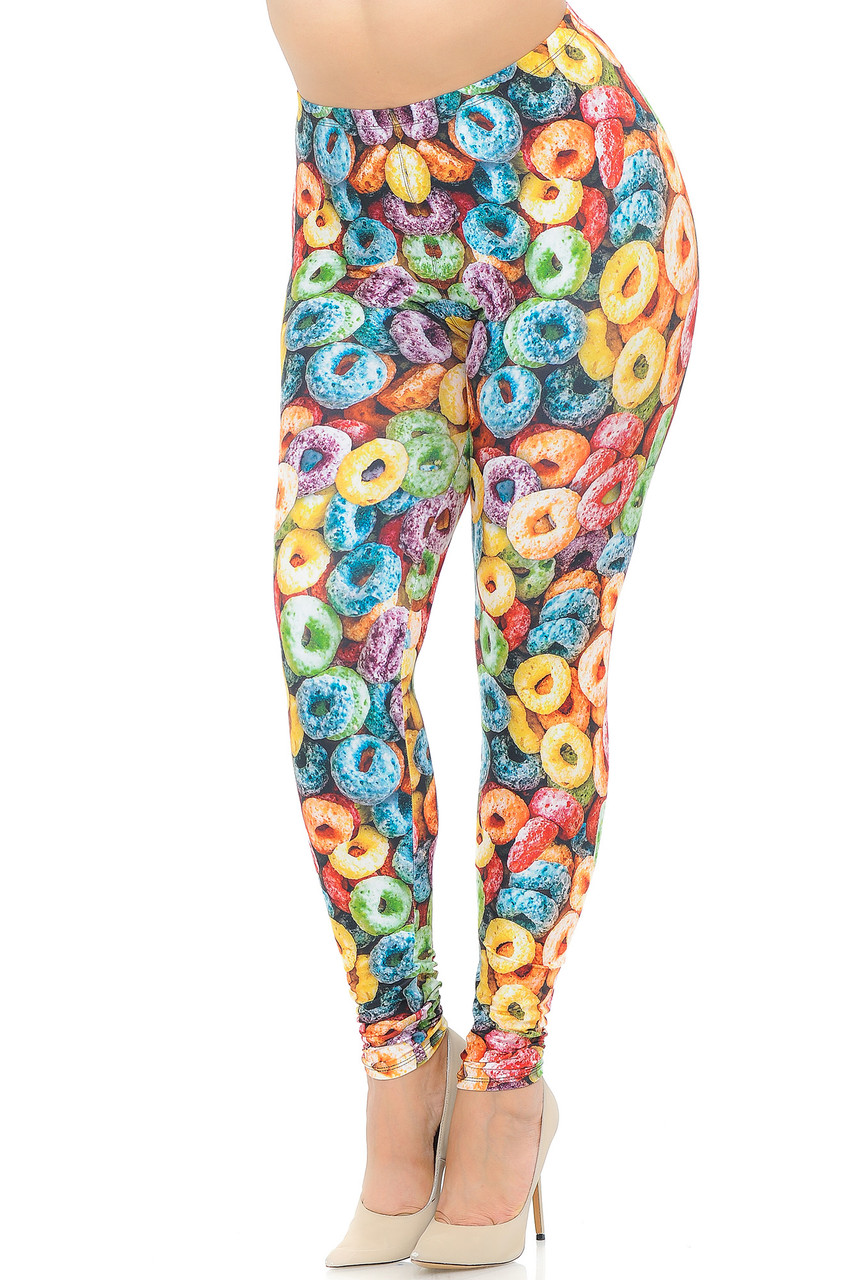 Angled front view image of our colorful and sweet Creamy Soft Colorful Cereal Loops Extra Plus Size Leggings featuring and all over multi colored cereal design.