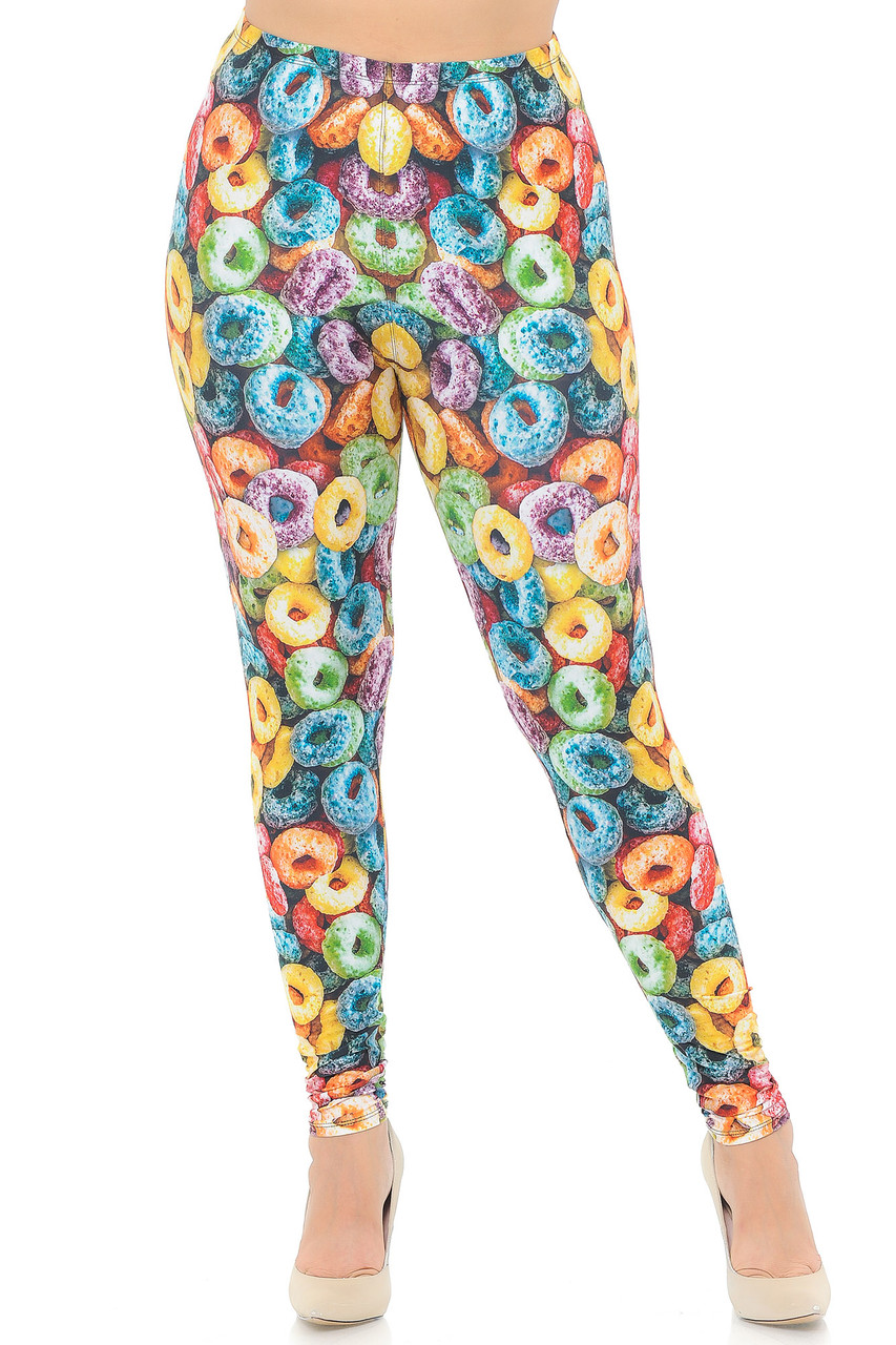 Front view of our Creamy Soft Colorful Cereal Loops Extra Plus Size Leggings that will give you a stand out look anywhere you go.