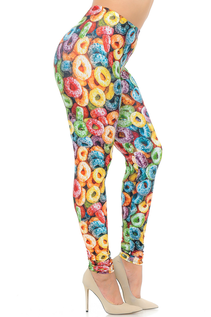 Right side view image of Creamy Soft Colorful Cereal Loops Extra Plus Size Leggings with a colorful look that is perfect for vibrant Spring and Summer looks.