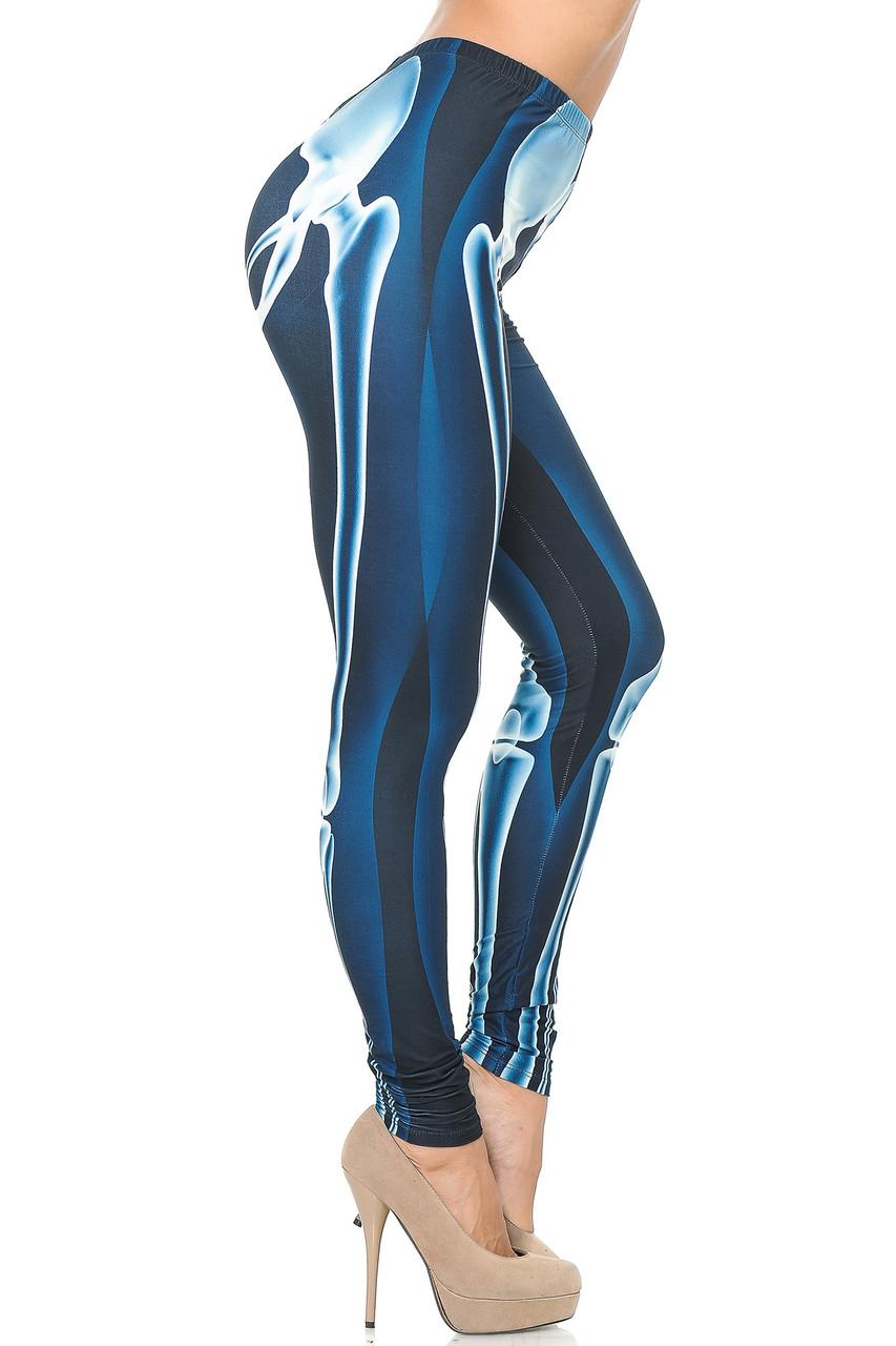 Right side view image of Creamy Soft Radioactive Skeleton Bones Leggings - USA Fashion™