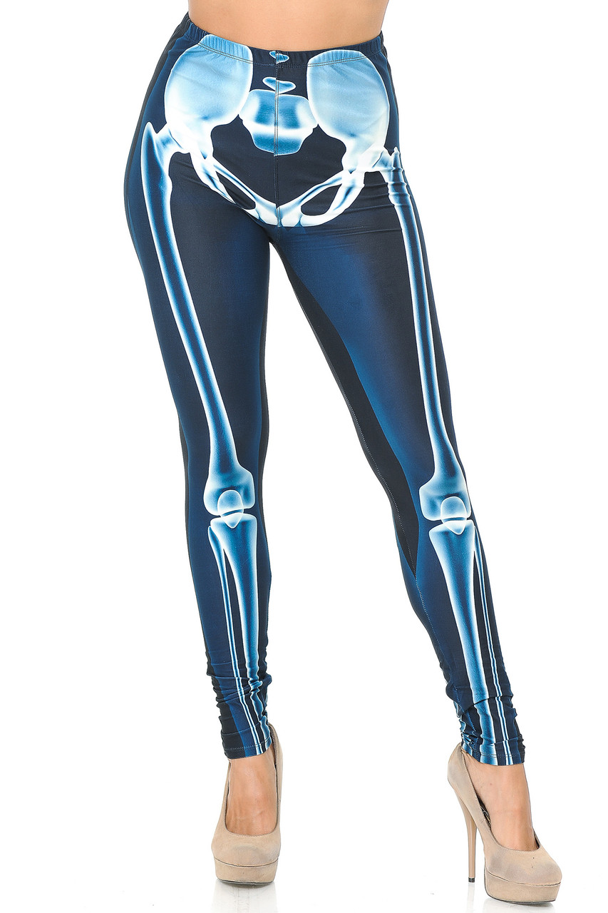 Front view of our Creamy Soft Radioactive Skeleton Bones Plus Size Leggings that are ideal for Halloween costumes and edgy everyday fashion looks for any season.