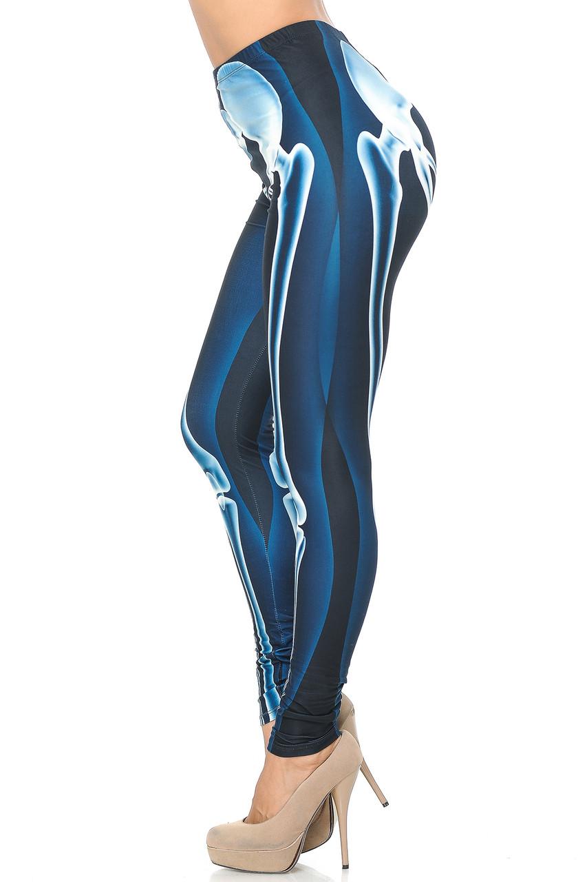 Left side view image of Creamy Soft Radioactive Skeleton Bones Plus Size Leggings - USA Fashion™