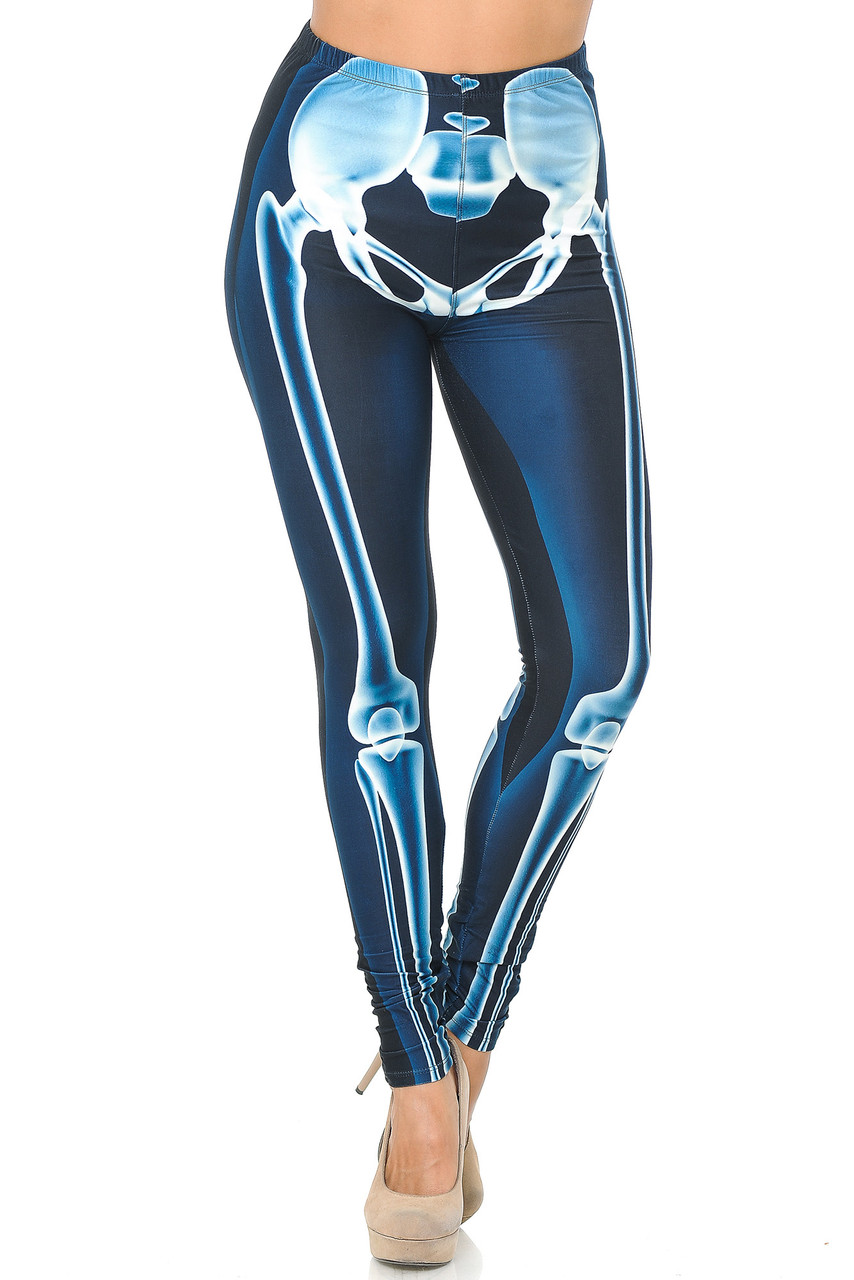 Front view image of our mid rise Creamy Soft Radioactive Skeleton Bones Plus Size Leggings with a comfort stretch waist.