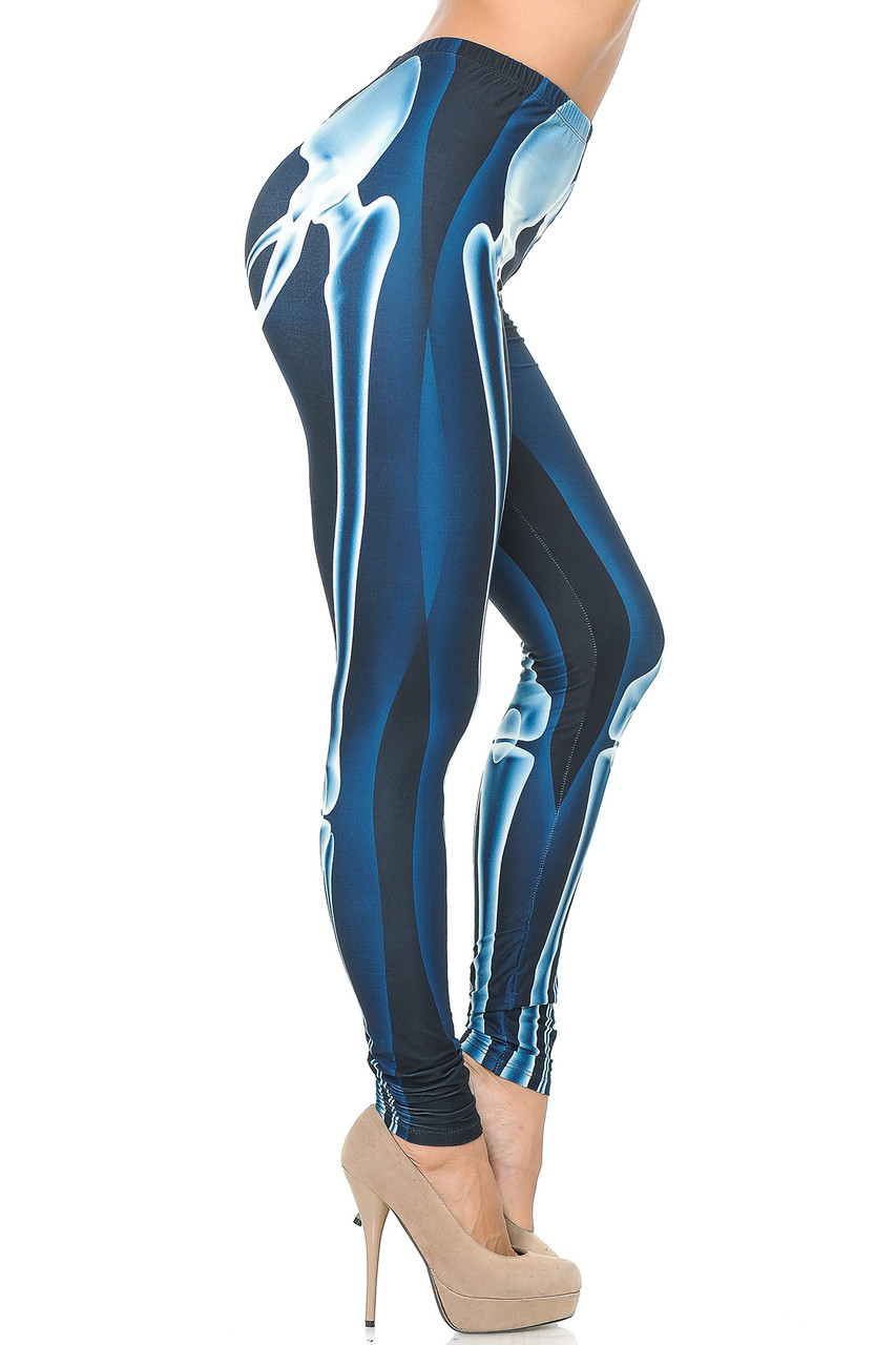 Right side view image of Creamy Soft Radioactive Skeleton Bones Extra Plus Size Leggings - 3X-5X - USA Fashion™