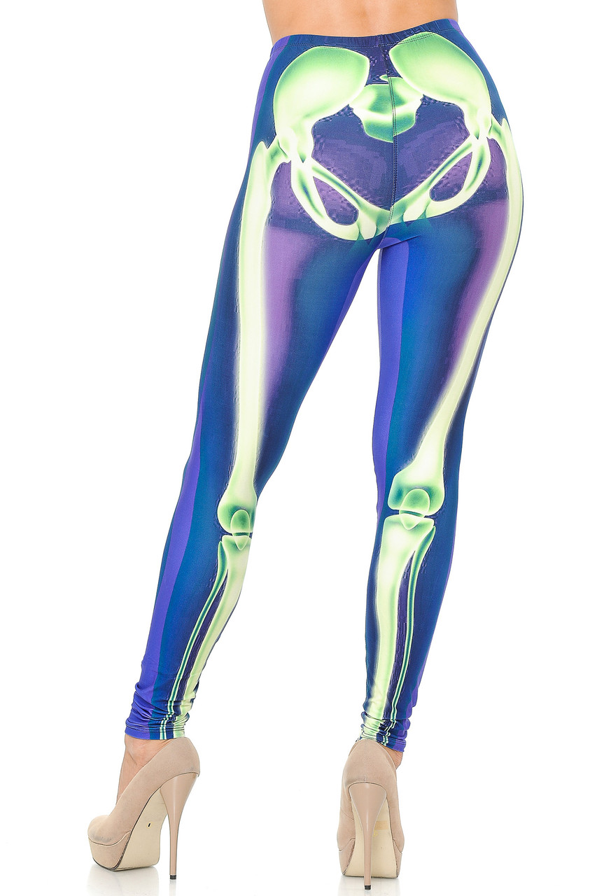 Rear view image of our anatomically correct Creamy Soft Chernobyl Skeleton Bones Leggings - USA Fashion™ with a flattering body hugging fit.