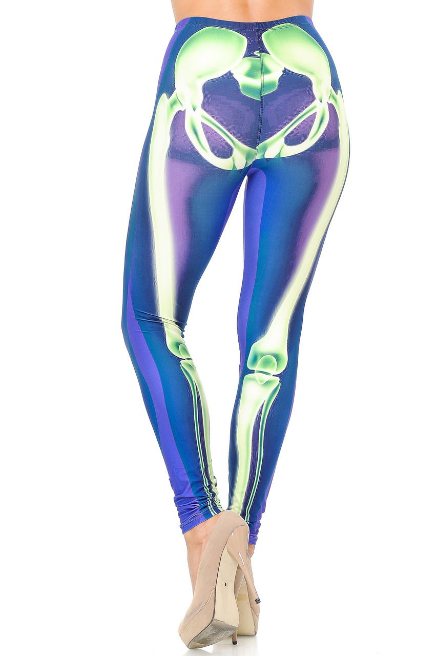 Back view image of Creamy Soft Chernobyl Skeleton Bones Leggings - USA Fashion™