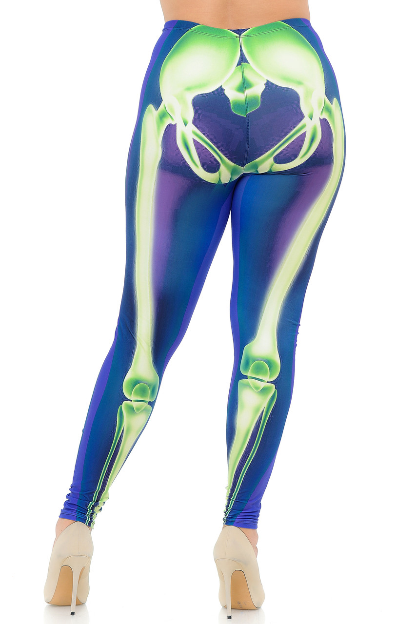 Rear view image of our anatomically correct Creamy Soft Chernobyl Skeleton Bones Plus Size Leggings - USA Fashion™ with a flattering body hugging fit.