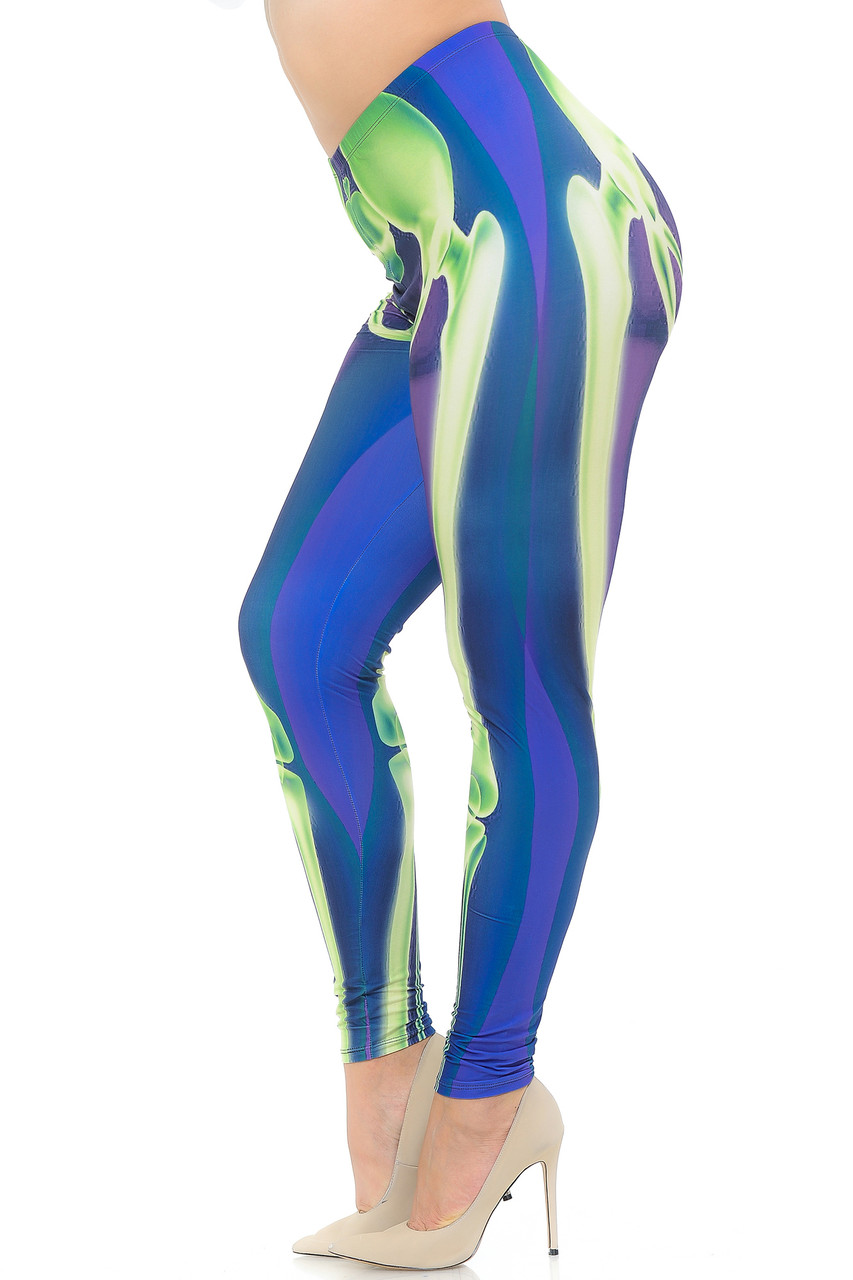 Left side view image of Creamy Soft Chernobyl Skeleton Bones Plus Size Leggings - USA Fashion™