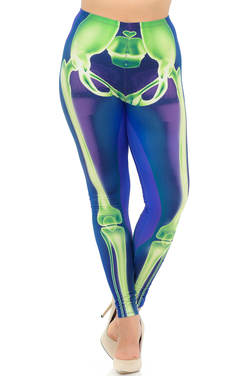 Front view of our Creamy Soft Chernobyl Skeleton Bones Plus Size Leggings - USA Fashion™ with a fabulous look for Halloween or for year round edgy outfits.