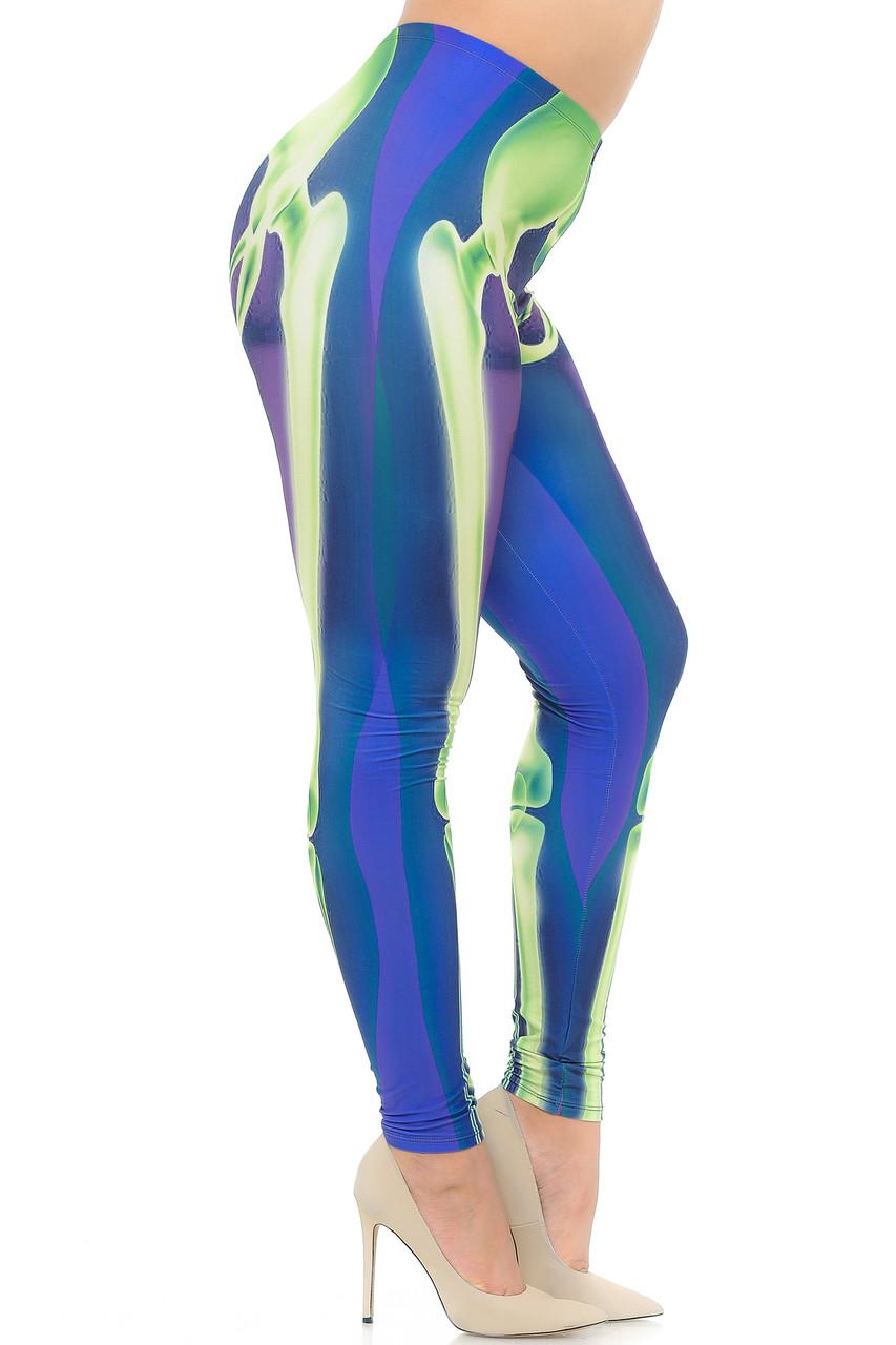 Right side view image of Creamy Soft Chernobyl Skeleton Bones Extra Plus Size Leggings - 3X-5X - USA Fashion™