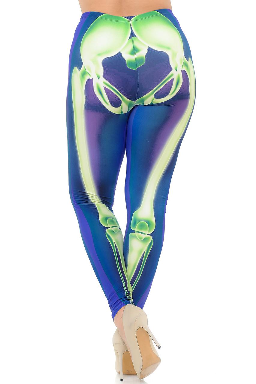 Back view image of Creamy Soft Chernobyl Skeleton Bones Extra Plus Size Leggings - 3X-5X - USA Fashion™