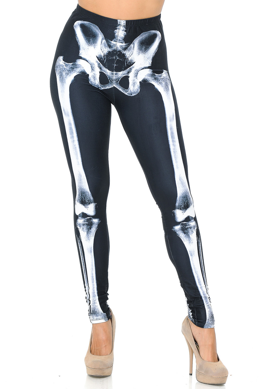 Front view image of our full length skinny leg cut Creamy Soft X-Ray Skeleton Bones Leggings - USA Fashion™