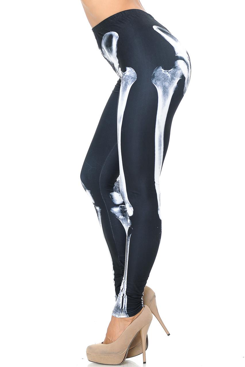 Left side view image of Creamy Soft X-Ray Skeleton Bones Leggings - USA Fashion™