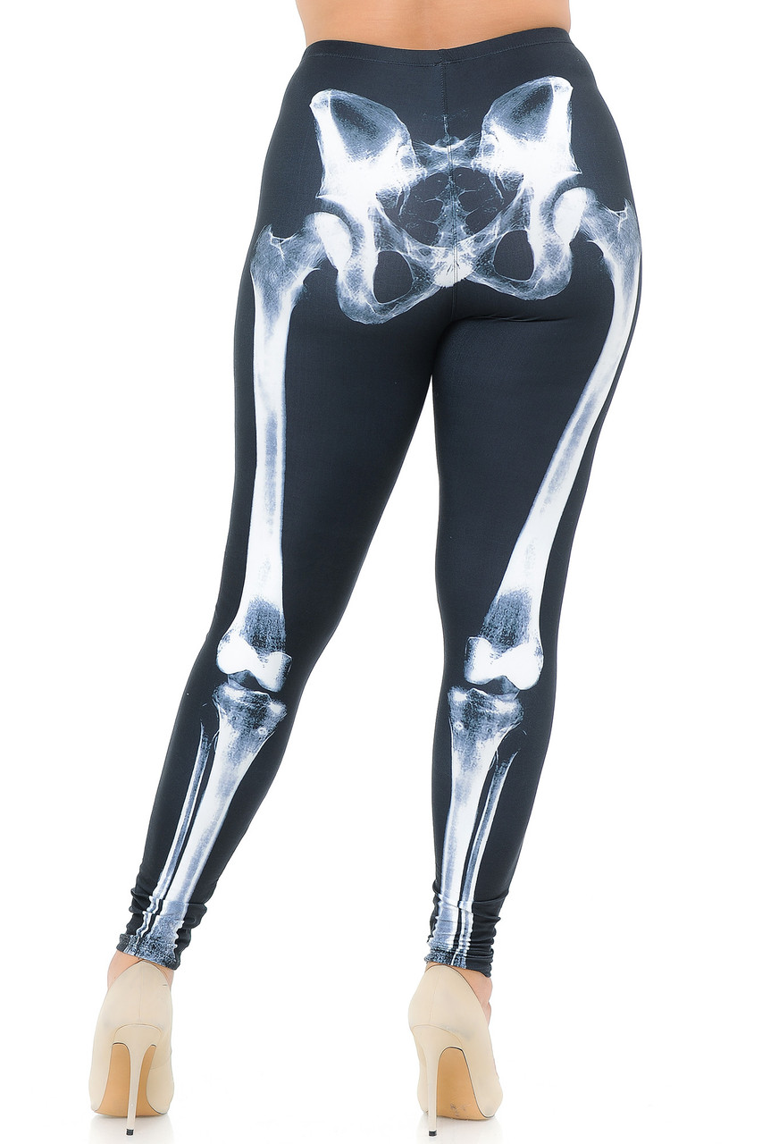 Rear view image of our form fitting Creamy Soft X-Ray Skeleton Bones Plus Size Leggings - USA Fashion™ that pair with a top of any color.