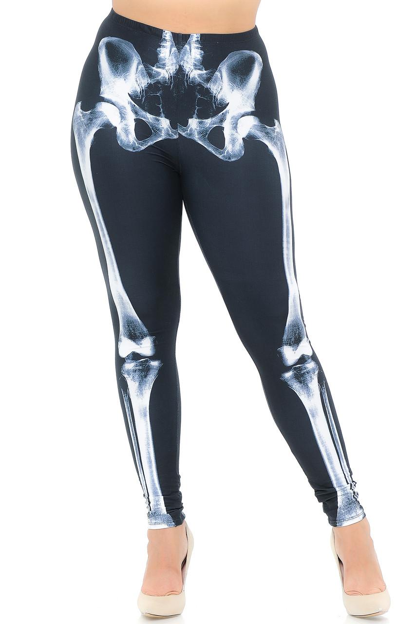 Front view image of our full length skinny leg cut Creamy Soft X-Ray Skeleton Bones Plus Size Leggings - USA Fashion™