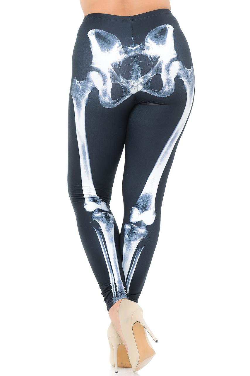 Back view image of Creamy Soft X-Ray Skeleton Bones Plus Size Leggings - USA Fashion™